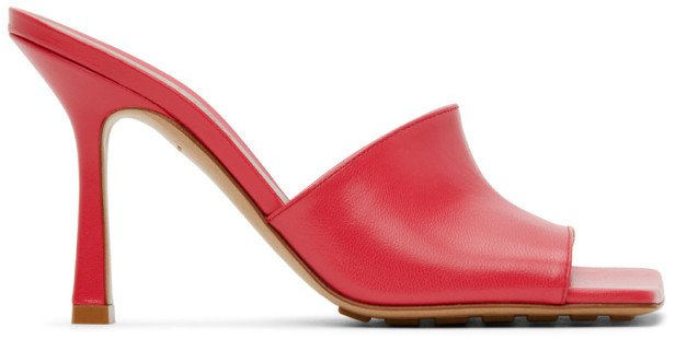 Pink Stretch Heeled Sandals