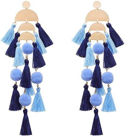 Amazon.com: Blue Tassel Earrings Statement Fringe Drop Bohemian Earrings Geometric Dangle for Women: Clothing