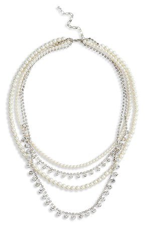 CRISTABELLE Imitation Pearl & Crystal Layered Necklace | Nordstrom