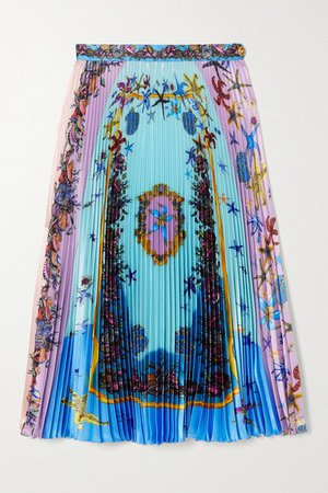 Pleated Printed Satin Midi Skirt - Blue