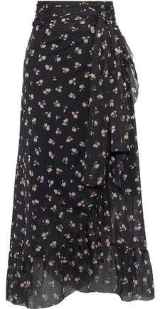 Tilden Floral-print Mesh Midi Wrap Skirt