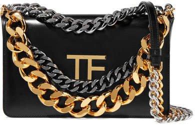 Triple Chain Embellished Leather Shoulder Bag - Black