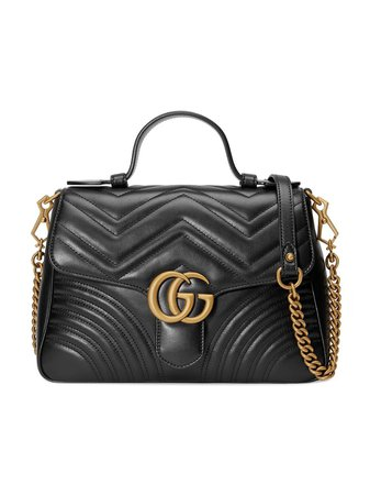 Gucci Black GG Marmont Small Top Handle Bag - Farfetch