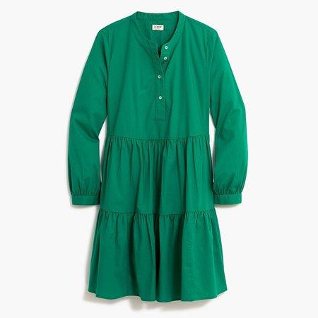 Stretch cotton poplin tiered dress