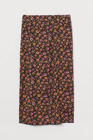 Mesh Slit-front Skirt - Orange