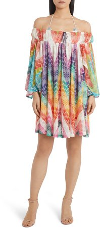 Zigzag Off the Shoulder Cover-Up Minidress