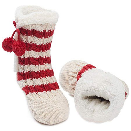 Maamgic Womens Christmas Fuzzy Slipper Sock Ladies Warm Funny Cable Knit Socks With Grips at Amazon Women's Clothing store