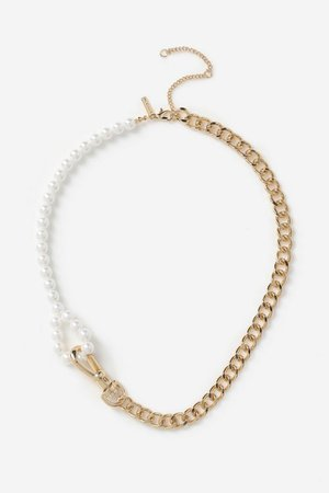 **Chain N Pearl Necklace | Topshop
