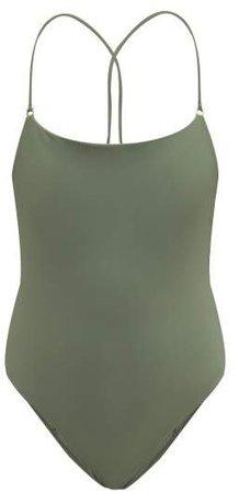 Tether Crossover Back Swimsuit - Womens - Khaki
