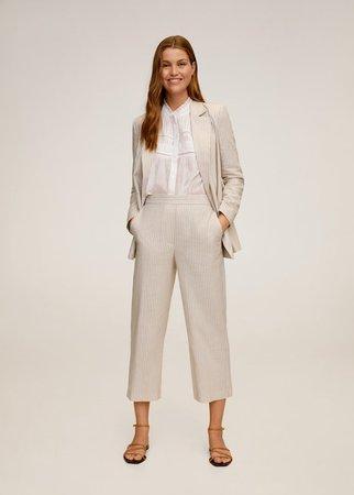 Striped linen-blend trousers - Women | Mango United Kingdom