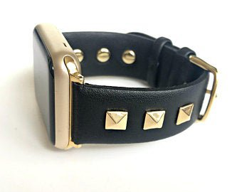 Black leather with gold studs Apple Watch Band apple watch   Etsy