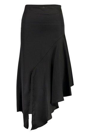Satin Asymetric Hem Midi Skirt   Boohoo black