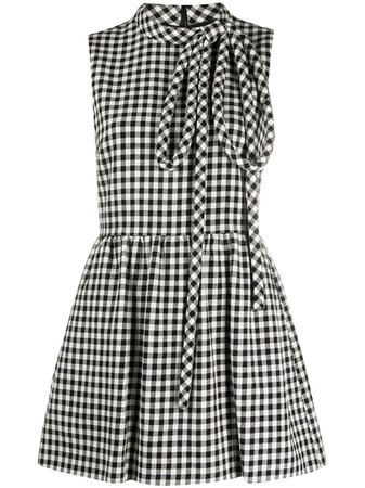 Shop white & black RedValentino checked flared dress with Express Delivery - Farfetch