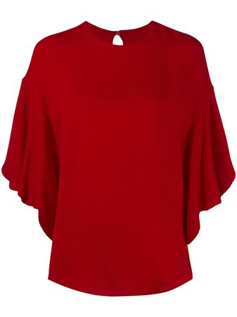 Shop red Valentino frilled tulip-sleeve blouse with Express Delivery - Farfetch
