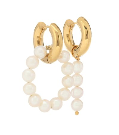 Mismatched 24Kt Gold-Plated Hoop Earrings With Pearls | Timeless Pearly - Mytheresa