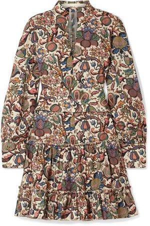 Anna Mason - Vita Printed Cotton-poplin Mini Dress - Brown