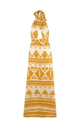 Facundo Printed Linen Maxi Halter Dress By Johanna Ortiz   Moda Operandi