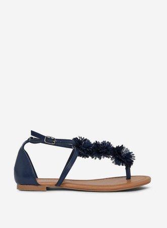 Navy 'Fleurs' Corsage Sandals   Dorothy Perkins