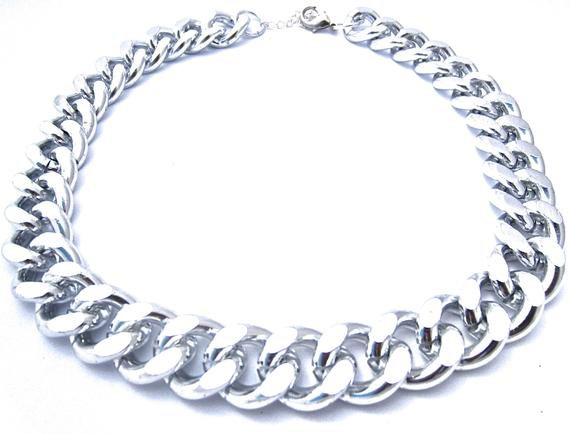Silver Chunky Chain Necklace Statement Necklace Chain Link   Etsy