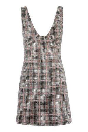 Check A-Line Pinafore Dress