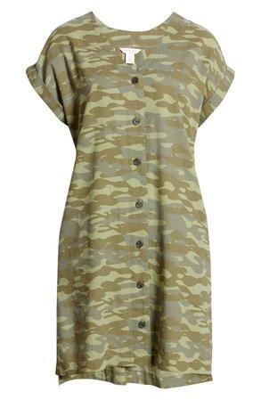 Caslon® Camo Button Front Linen Blend Dress | Nordstrom