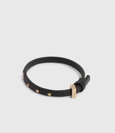 ALLSAINTS US: Womens Hero Leather Cuff Bracelet (black_warm_brass)