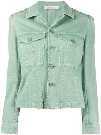 Philosophy Di Lorenzo Serafini fitted denim jacket green A05047132 - Farfetch