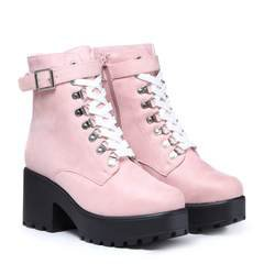 Light Pink Suede Chunky Platform Biker Boots with White Laces and Ski Hooks – KOI footwear