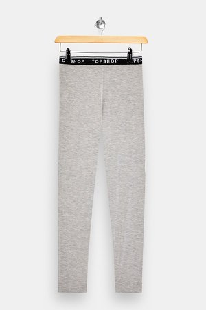 Gray Marl Branded Elasticated Leggings