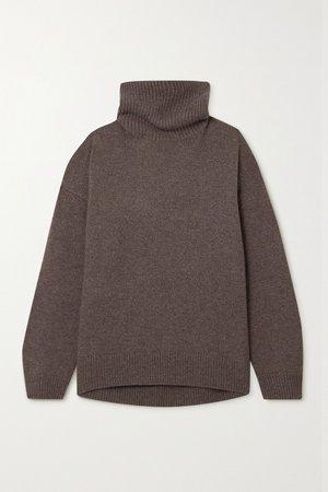 Brown Jennie cashmere turtleneck sweater | LISA YANG | NET-A-PORTER