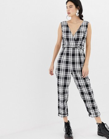 Miss Selfridge jumpsuit with cross front in check | ASOS