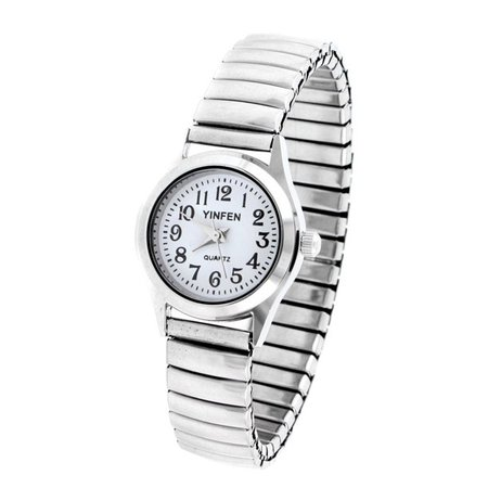 Unique Bargains - Women's Elastic Band White Rounded Dial Watch - Walmart.com - Walmart.com