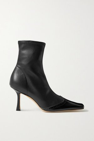 Bernie Paneled Faux Leather Ankle Boots - Black