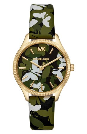 Michael Kors Lexington Butterfly Leather Strap Watch, 36mm | Nordstrom