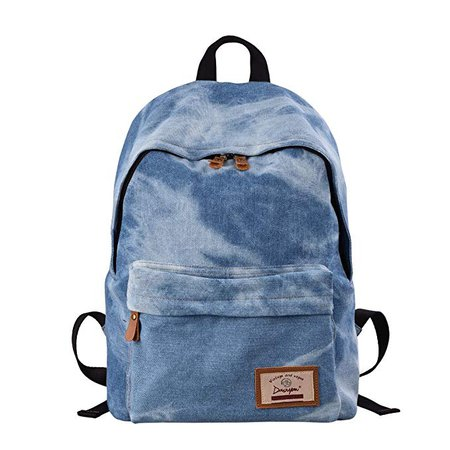 Amazon.com | Denim School Backpack, Unisex Student Bookbags, Casual Laptop Bag Rucksack for Teenage(light blue) | Kids' Backpacks