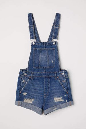 Denim Bib Overall Shorts - Blue
