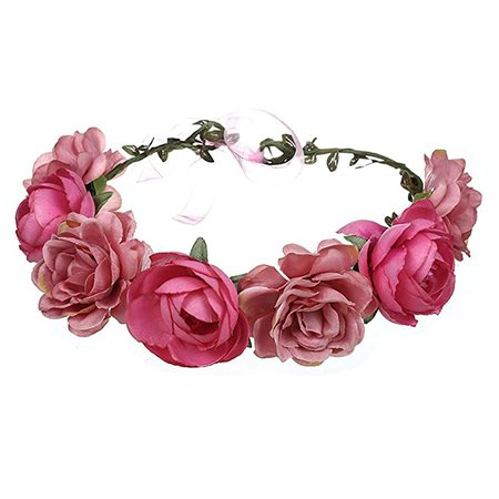 Amazon.com : June Bloomy Women Rose Floral Crown Hair Wreath Leave Flower Headband with Adjustable Ribbon (Rose Red) : Beauty