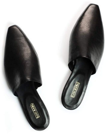 Lou.Earl Aix In Licorice Smooth Leather Flat Mules