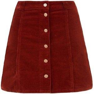 Rust Corduroy Button Front A-Line Skirt