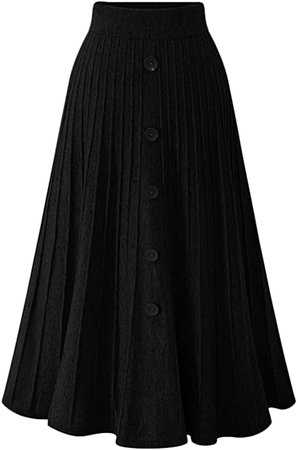 Youhan Women's High Waist A-Line Pleated Knitted Skirt (Medium, Black) at Amazon Women's Clothing store