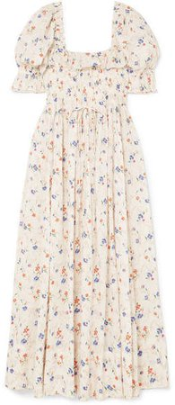DÔEN - Sol Shirred Floral-print Swiss-dot Cotton-voile Maxi Dress - Cream