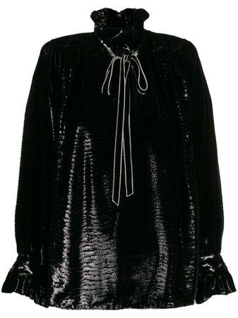 Saint Laurent crystal-embellished Poet Blouse - Farfetch