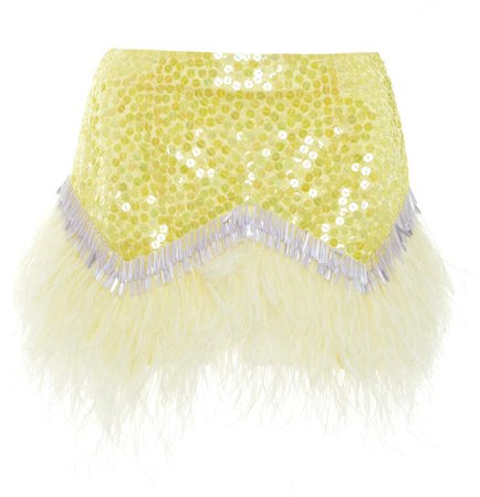 Attico Embellished Feather-Trimmed Crepe Skirt Size: 38
