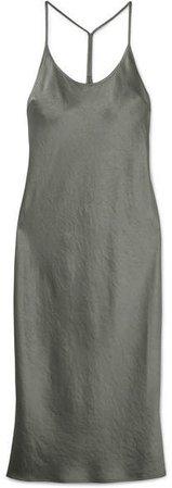 Satin Midi Dress - Silver