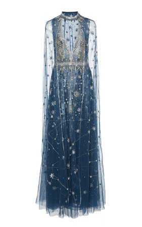 Cucculelli Shaheen Women's Blue Constellation Dress with Constellation Cape