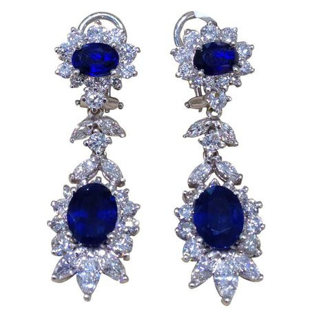 Classic Sapphire and Diamond Earrings For Sale at 1stDibs