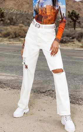 White Cargo Distressed Baggy Jeans   Denim   PrettyLittleThing