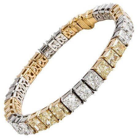 Cartier White and Fancy Yellow Diamond Tennis Bracelet For Sale at 1stdibs