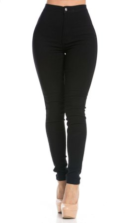 Super High Waisted Stretchy Skinny Jeans in Black (Plus Size Available) | Soho Girl