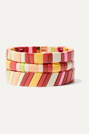Red Negroni set of three enamel and gold-tone bracelets | Roxanne Assoulin | NET-A-PORTER